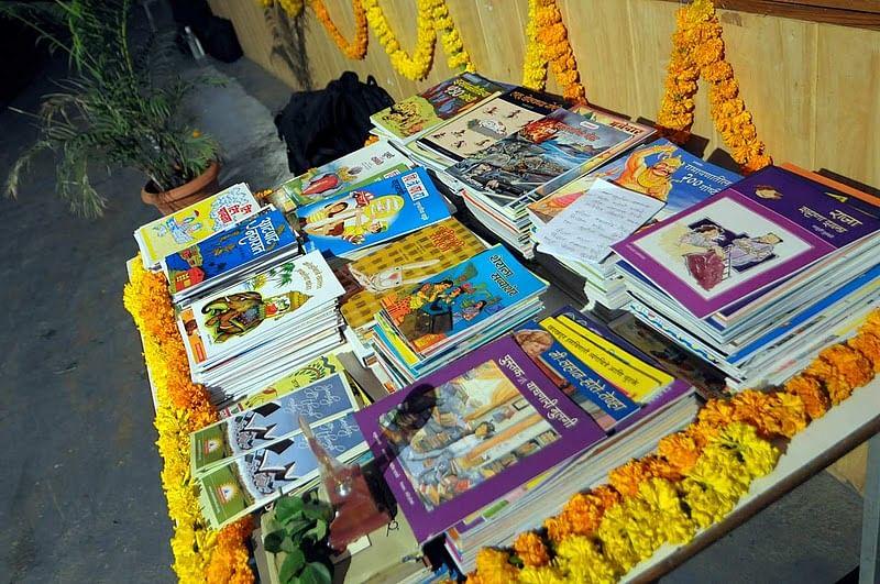 Books on display at Akshar Bharati