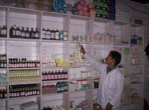 Pharmacist shows his well stocked and maintained pharmacy in India's easternmost village at Kibitho in Arunachal Pradesh.