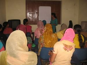 Women of Tikli and Aklimpur villages in Haryana attending a training session. (Credit: Hemlata Aithani\WFS)