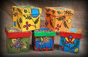 Handpainted madhubani keepsake boxes
