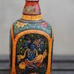 Intricately handpainted Pattachitra bottle