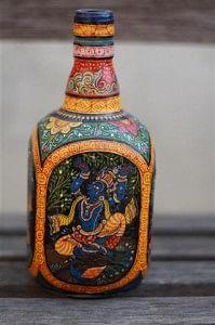 Intricately handpainted Pattachitra bottle