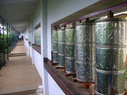 According the Tibetan Buddhist belief, spinning a prayer wheel is just as effective as reciting the sacred texts aloud.