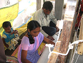 Weavers getting trained