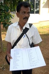 Bal Pandian showing his checklist of birds