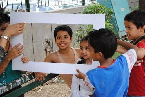 Children Playing at a Khoj workshop at Khirkee