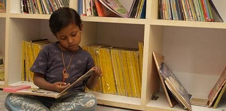 A child at the Akshara library