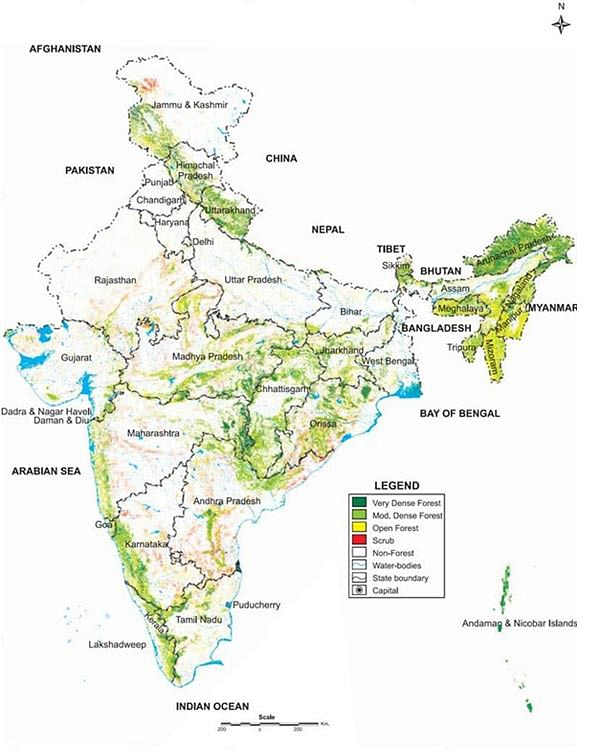 Map of India's Forests (Courtesy: WWF-India)