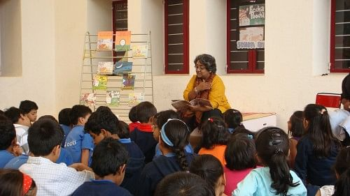 Tulika editor and writer Sandhya Rao doing a reading