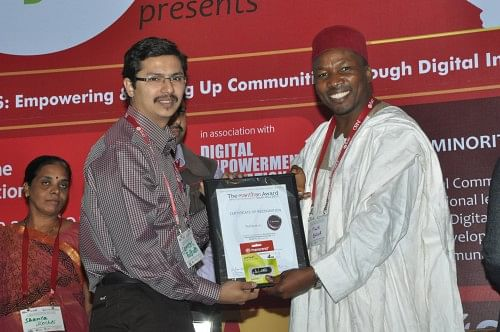 Sameer Tulpule (left) at the Manthan Awards 2011