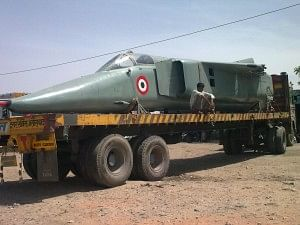 A de-winged Mig-27 makes an interesting sight along Rajasthan's state roads.