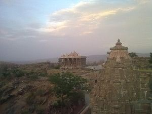 The Shiva temple in the foreground