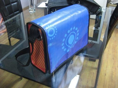 Sample Commonwealth Games messenger bag developed for Conserve India's new vinyl product range
