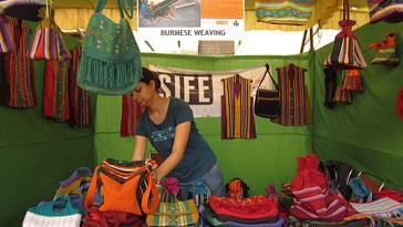 "A stall displaying handicrafts made by the Burmese refugees - part of ""Weaving Hope"" initiative by SIFE IITD"