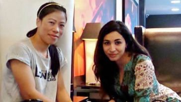 Shireen Irani (right), Founder of i-Probono, with Mary Kom at London