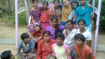 Happy faces at Chaithanya - a Project for Street Girls, where girls from under-privileged families are provided shelter, basic education and vocational training