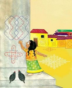 """The story chosen for these sessions was """"Susheela's Kolams"""", about a girl who loves Kolams (a form of painting with rice powder/chalk) and dreams big"""