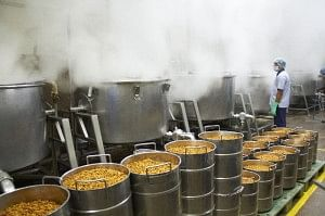 Lentils being cooked in Akshaya Patra Kitchen