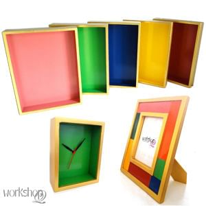 Colour-blocked Aluminium range of trays, clocks and photo frames