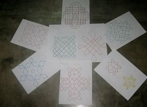 A whole lot of Kolams came out of the storytelling session at Tezpur!
