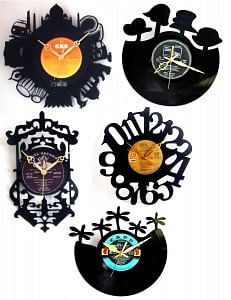 These clocks are made of actual vinyl records stashed away and long forgotten!