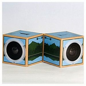 Recycled fold and play speakers