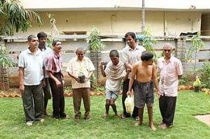 Members of Asha Niketan family having a good time in the garden