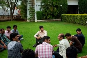 Ganatra (centre) at one of his interactive sessions