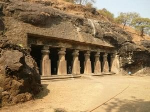 The front facade of the Elephanta Caves. Numerous industries are causing irrevocable damage to the structures and the rich but fragile eco-system here.