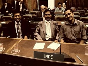 Rahul Cherian (right) at the World Intellectual Property Organisation where he help the World Blind Union negotiate for the Treaty for the Blind