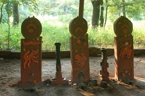 The totemic idols of a Warli temple