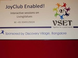 "Each VSET session is of 40-minute duration and is called a ""Joy Club"", devoted to one particular theme or value"