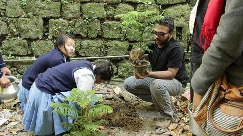 Hari Chakyar at a plantation drive in Gangtok
