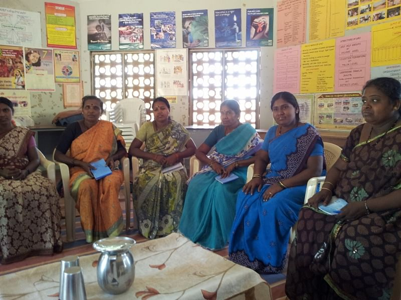 Some of Grameena Mahila Okkuta's governing board members meet at their headquarters in Yalagondanahalli village, Mulbagal taluk