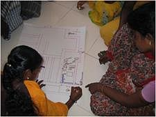 Members of a women's self-help group participates in a community-based disaster risk management training in India.