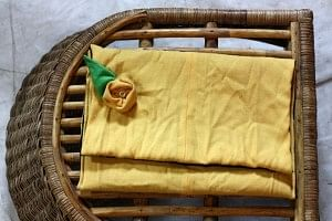 Pretty laptop bag made out of yellow cotton pants