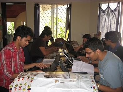 The teams are busy at work, trying to creatively solve the humanitarian challenge laid before them