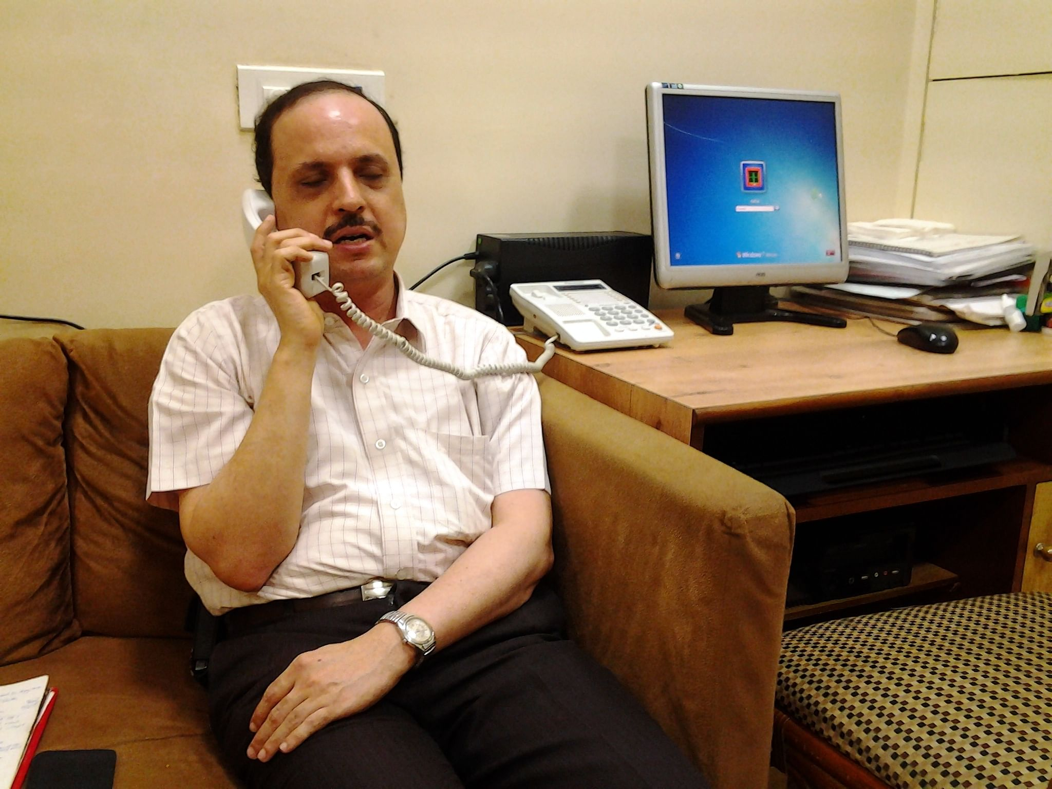 The busy director of XRCVC, Sam Taraporevala, at his centre.