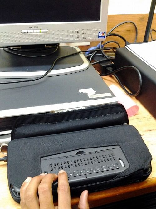 The centre has the 'Refreshable Braille' display machine, which allows a blind person to read a book while scanning it.