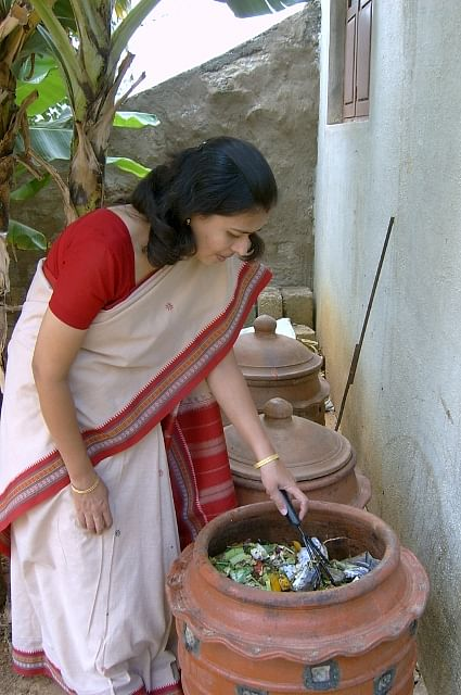 Trupti Godbole with the Daily Dump composter