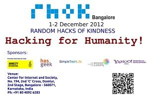 The RHoK banner inviting participants to the Bangalore Hackathon in December 2012