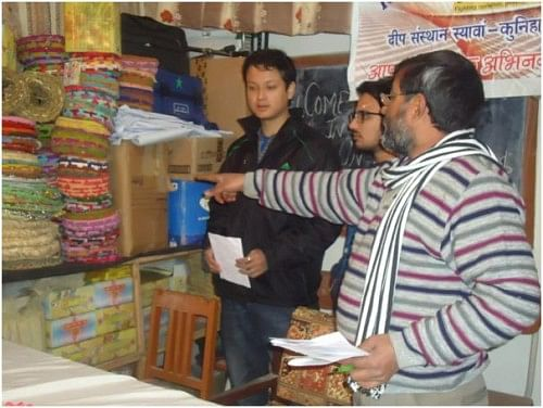 Internship students being mentored by Mr Sharma