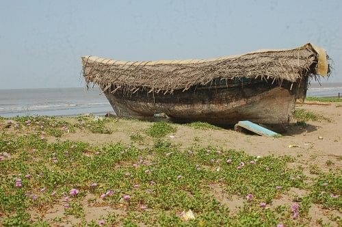 A fishing boat in Sanjan village.