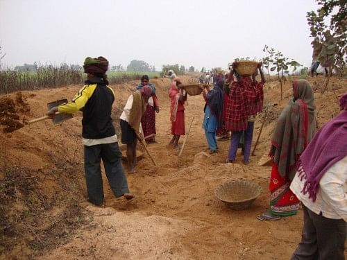 Ahar-pyne renovation work in progress in village Angra, Palamau, Jharkhand, SGVK. (Image courtesy: Centre for Integrated Livelihood Initiatives http://www.cinicell.org)