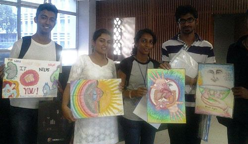 The winners of the poster competition held by Mohan Foundation with their posters