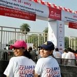 Mohan Foundation staff wearing t-shirts with the message on organ donation, at the start of the Delhi Marathon