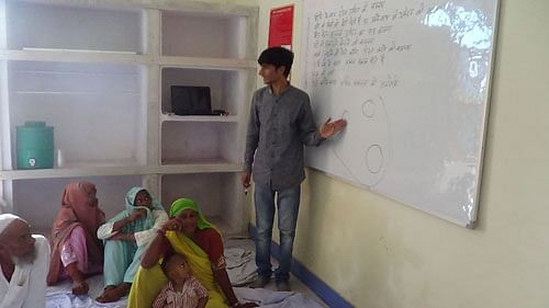 Shafiq conducts sessions to inform the poor in rural India about incidences of bride trafficking and how they could be prevented