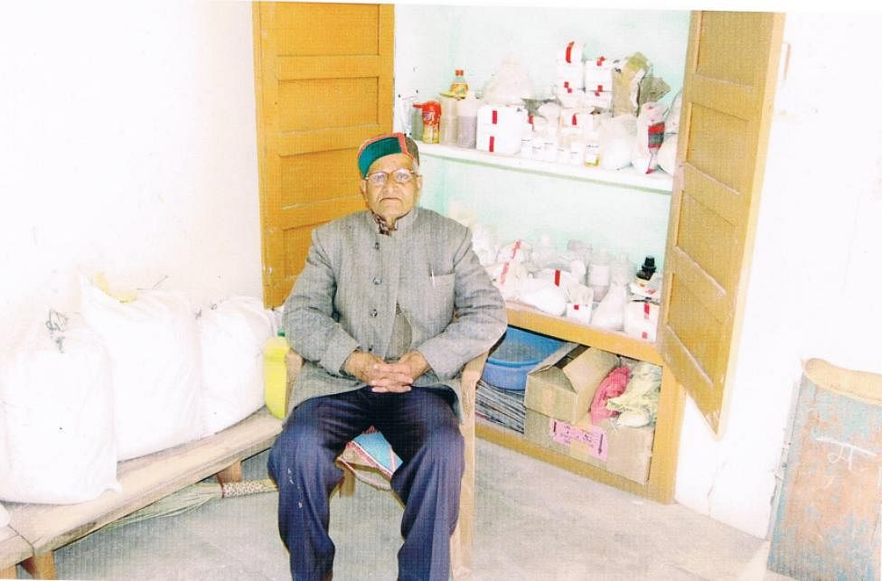 Mr Nand Lal Gupta in his lab in Solan, Himachal Pradesh