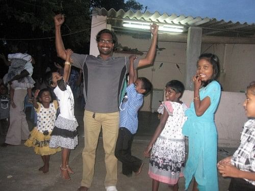Thilak is associated with  8 children's homes in Chennai, and all the children participated as guests in his wedding