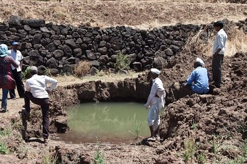 Muthalane village: This water source is located on a private land belonging to Ranjit Dethe. The water availability here is a direct result of the watershed management work done in the village. This is due to the PGWM work done in the village by ACWADAM.
